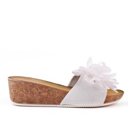 White mule sandal with wedge heel