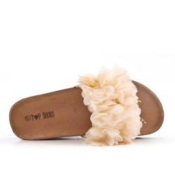 Aleta beige con flor