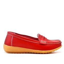 Red comfort mocassin in faux leather
