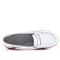 Mocassin confort blanc en simili cuir