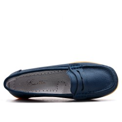 Mocassin confort bleu en simili cuir