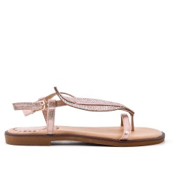 CHampagne flat sandal with strass