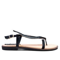 Sandale plate noire ornée de strass