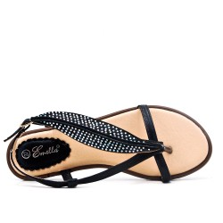 Black flat sandal with strass