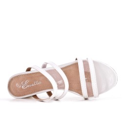 White mule sandal with heel