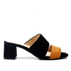 Two-tone faux-suede mule with heel
