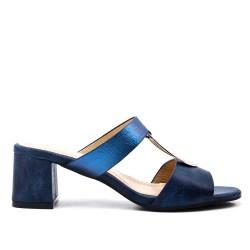 Sandale mule bleu à talon