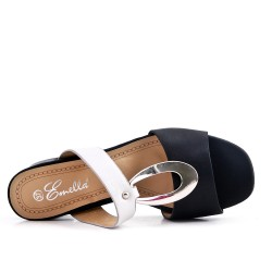 Sandale mule noire à talon