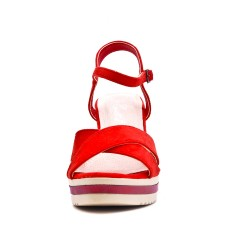 Wedge sandal red faux suede