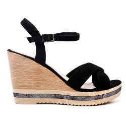 Sandale compensée noire en simili daim