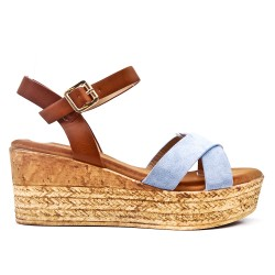 Wedge sandal blue faux suede