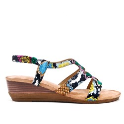 Snake print sandal with small wedge