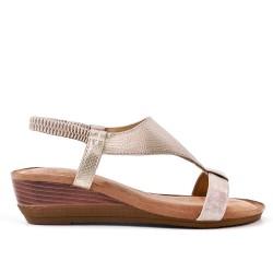 Sandale dorée en simili cuir à petit compensé