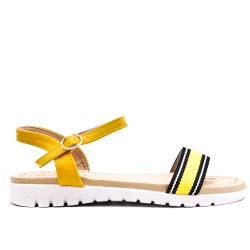 Yellow flat sandal with bi-material