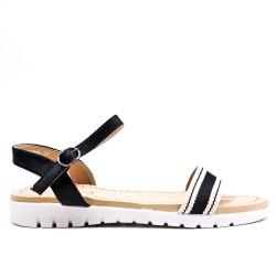 Black flat sandal with bi-material