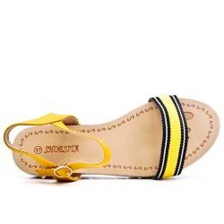 Yellow flat sandal with bi-material