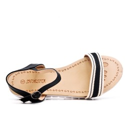 Black flat sandal with bi-material