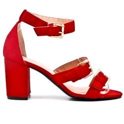 Sandalia rojo con correa de piel sintética