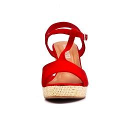 Sandalia cuña gamuza rojo