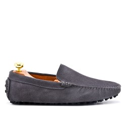 Gray moccasin in perforated suede leather