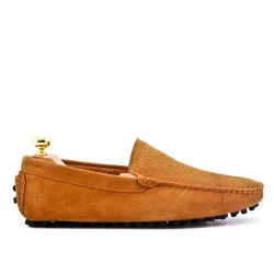 Camel moccasin in perforated suede leather