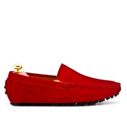 Red moccasin in perforated suede leather