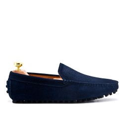 Navy moccasin in perforated suede leather