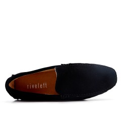 Black moccasin in perforated suede leather