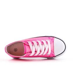 Brillo de lentejuelas rosa con encaje de cinta