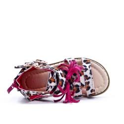 Sandale fille imprimée léopard