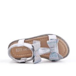 Sandalia chica plata con lazo
