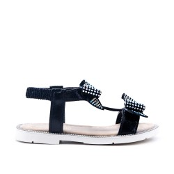 Black girl sandal with bow