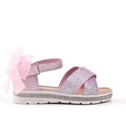 Sandalia infantil rosa con detalle de purpurina