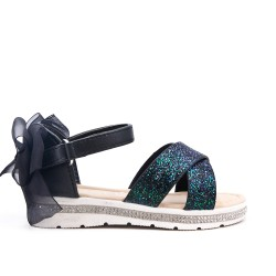 Sandale noire enfant détail pailleté