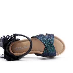 Sandalia infantil negra con detalle de purpurina