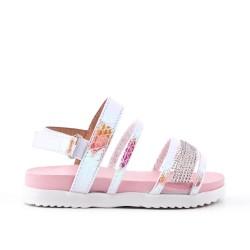 Sandalia niña rosa con strass