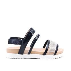 Sandale fille noire à strass