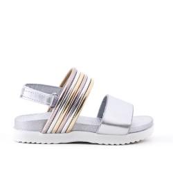 Sandale fille argent en simili cuir