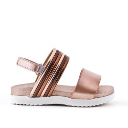 Sandal champagne girl in leatherette