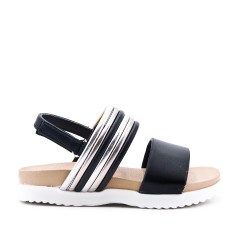Sandal black girl in leatherette