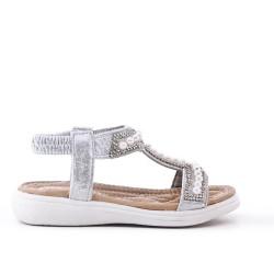 Sandale fille argent à perle