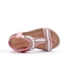 Sandale fille rose à perle