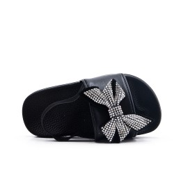 Black girl slipper with bow