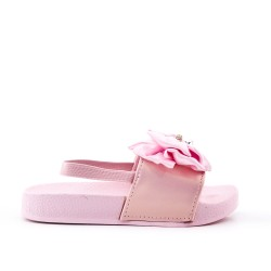 Pink girl slipper with bow