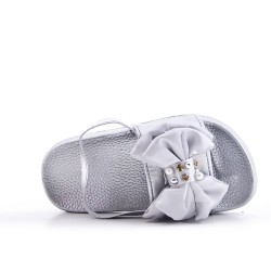 Silver girl slipper with bow