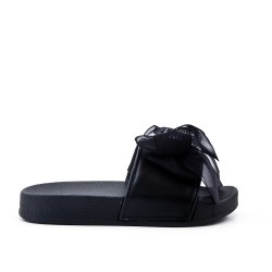 Black girl slipper with bow