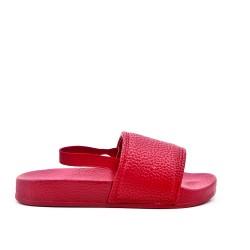 Claquette fille rouge en simili cuir