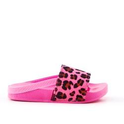 Claquette fille rose en simili cuir imprimé léopard