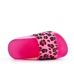 Pink girl's flapper imitation leather leopard print