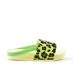 Yellow girl's flapper imitation leather leopard print